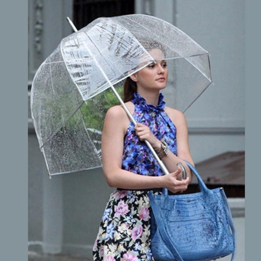 Durable Transparent Long Handle Women Umbrella Semi-automatic Portable Size Girls Sunny Rainy Polyester Umbrella Rain Gear Sale