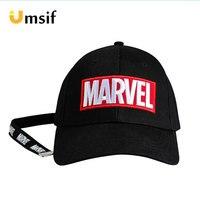 Women Men Cotton Marvel Embroidery Baseball Caps With Ribbon Summer Sun Hats for Male Boys Adjustable Trucker Hat Snapback Hats