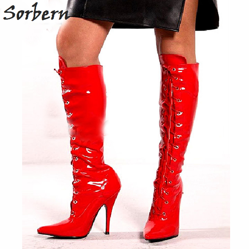 Sorbern 2018 Woman Shoes 12CM High Heel Sexy Spike High Heels Lace Up Pointed Toe Woman Boots LongSorbern 2018 Woman Shoes 12CM High Heel Sexy Spike High Heels Lace Up Pointed Toe Woman Boots Long