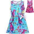 Дети платье Троллей Мака девушки платья для 6-10Y Магия весна европейский красное платье девушки оптовая детские бутик одежда