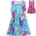 Crianças se vestem Trolls Poppy vestidos de meninas para 6-10Y Magia europeu da primavera vermelho vestido de partido das meninas por atacado baby boutique roupas