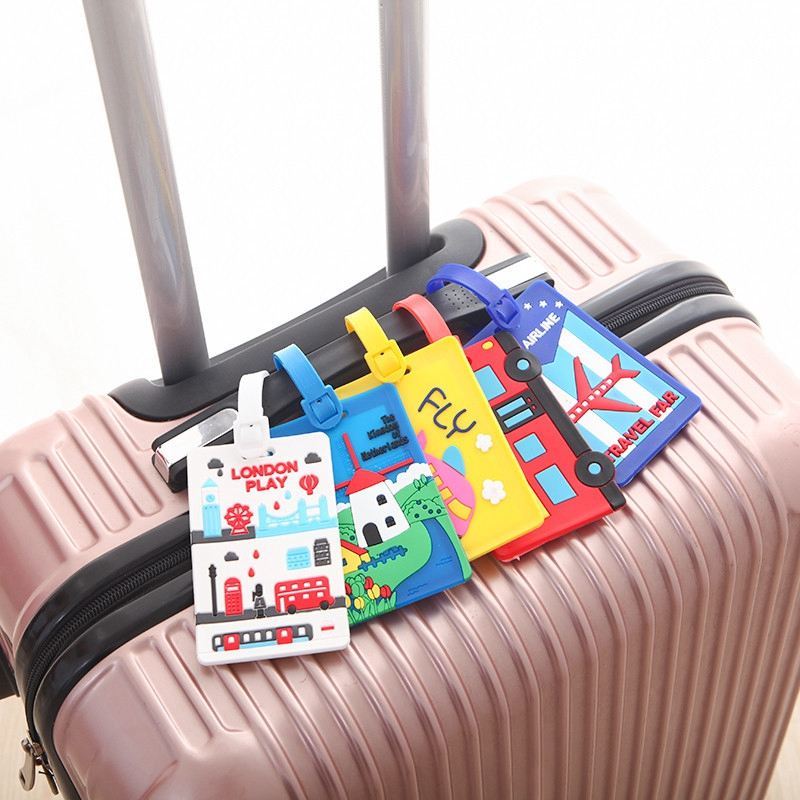 Carton Luggage Tag Car Stitch Travel Accessories Silica Gel Suitcase ID Address Holder Baggage Boarding Tags Portable Label