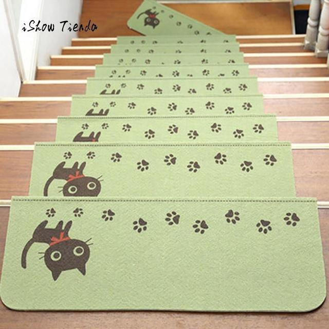 1Pcs Stairs Mat Cute Cat Printing Step Basic Non-Slip Rubber Backing Skid- Resistant