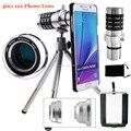 9 Peça Kit Lente Da Câmera: AWESOME 3 Lentes + Caso Óptico de 12X Telescópio Tripé lente do telefone para samsung galaxy note 5/4 3/s6 s6 borda +
