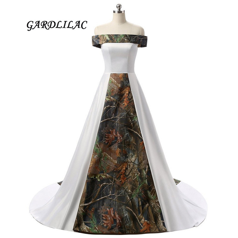 2019 New Real Pictures Off-shoulder White Satin Camouflage Wedding Dresses 2019 Camo Plus Size Bridal Gown Court Train Reliable Performance