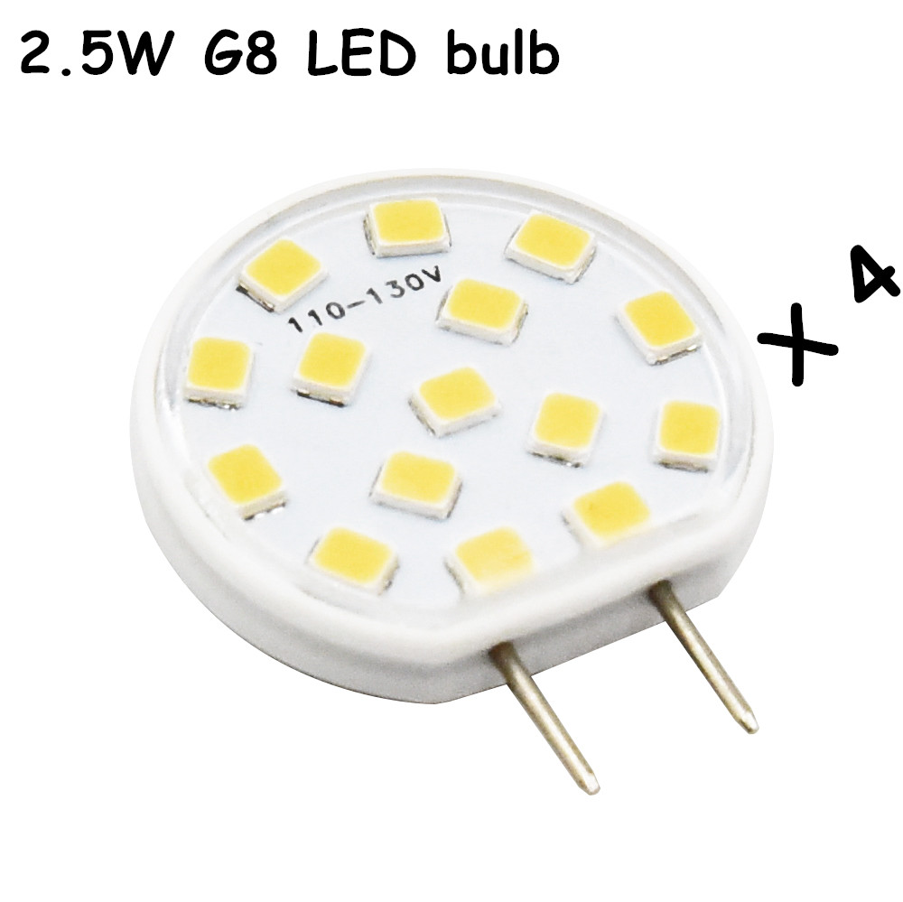 4 pcs 2.5W <font><b>G8</b></font> <font><b>LED</b></font> bulb AC110V 120V <font><b>G8</b></font> <font><b>LED</b></font> Bi-pin Light 200 Lumen Crystal Candle Chandelier Decorative Light Lamp Warm White/Cold image