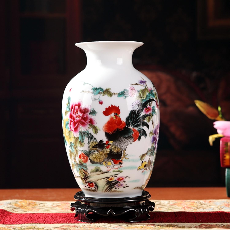 Jingdezhen Glazed White Ceramic Vase Traditional Chinese Paintings Flower Arrangement Home Decoration Vase vase
