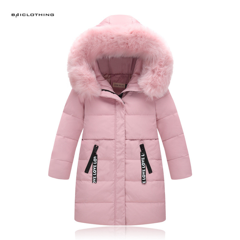 2017 Girls Long Thick Duck Down Jacket For Russia Winter Girls Warm Fur Collar Coats Clothes Children Girl Outerwear -30 degree russia winter boys girls down jacket boy girl warm thick duck down