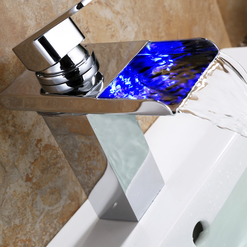 JMKWS Led Basin Faucet Water Basin Sink Taps Brass Waterfall Faucets Tap Temperature Control Color Chrome Bathroom Mixer Power