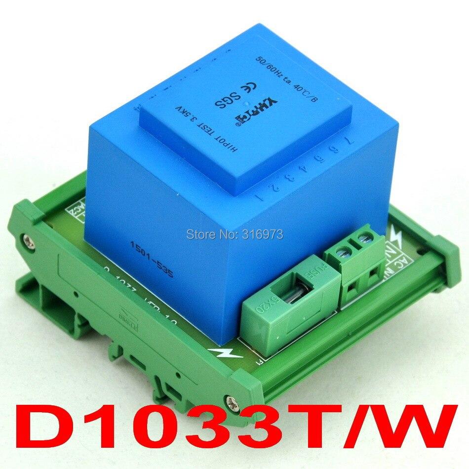 P 230VAC, S 2x 12VAC, 20VA DIN Rail Mount Power Transformer Module,D-1033T/W,12V