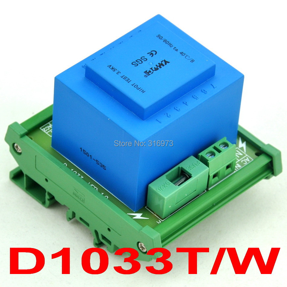 P 230VAC, S 2x 12VAC, 20VA DIN Rail Mount Power Transformer Module,D-1033T/W,12VP 230VAC, S 2x 12VAC, 20VA DIN Rail Mount Power Transformer Module,D-1033T/W,12V