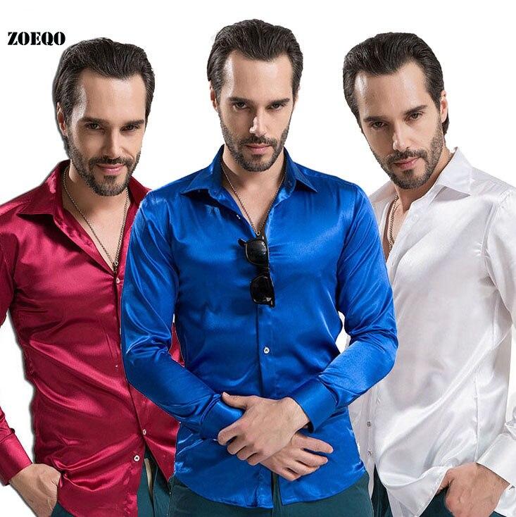 ZOEQO новая рубашка-смокинг для мужчин, 12 цветов, шелковое мужское однотонное платье с длинными рукавами, рубашка с запонками, мужские рубашки camisetas masculinas