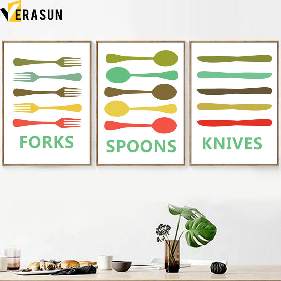 Cartoon Fork Spoons Knives Minimalist Wall Art Canvas Painting Nordic Posters And Prints Pop Pictures For Kitchen Decor