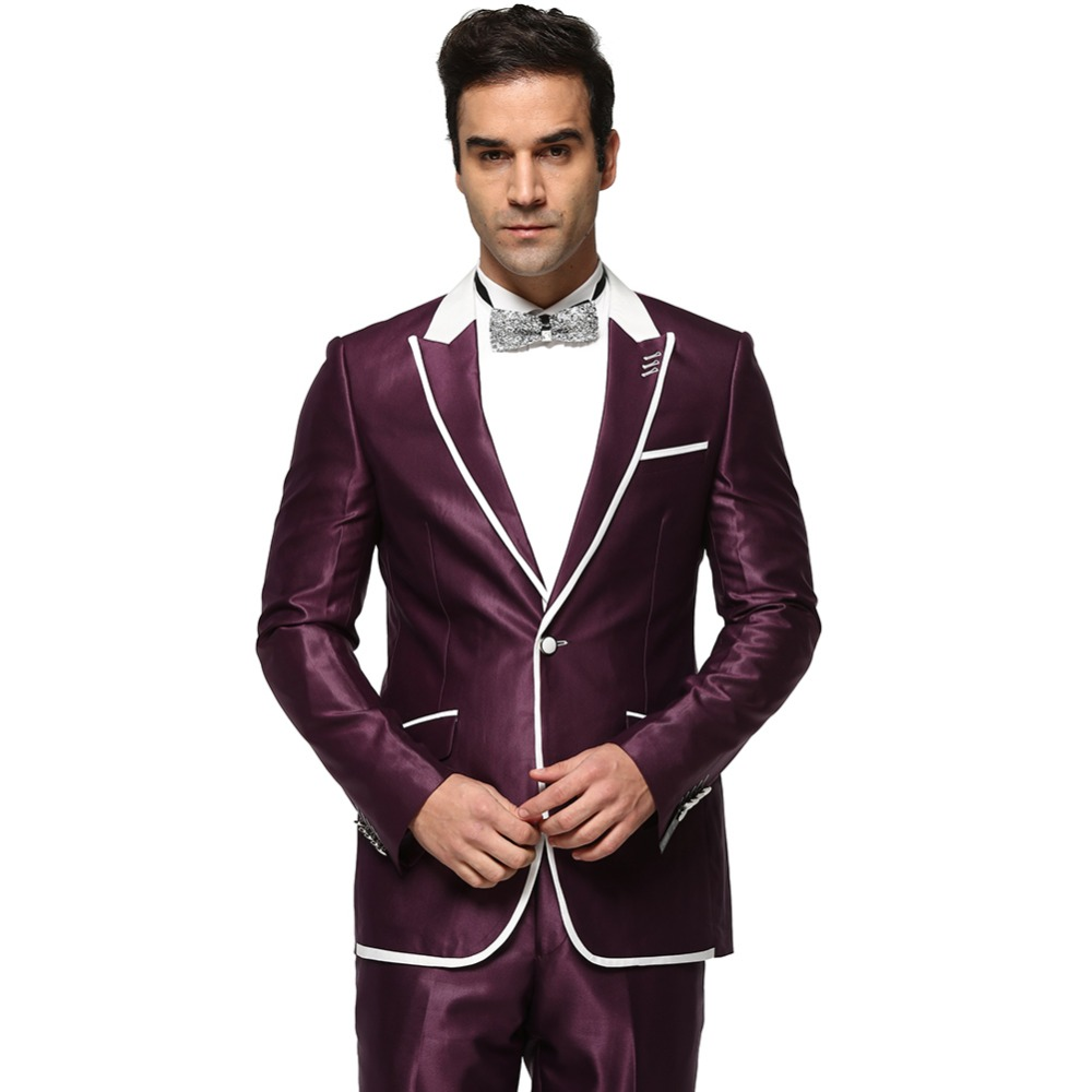 Men Suit 2016 Single Button Men's Wedding Dress Suits Party Tuxedo Costume Homme New Purple And Navy Blue Ternos Masculino Z1188