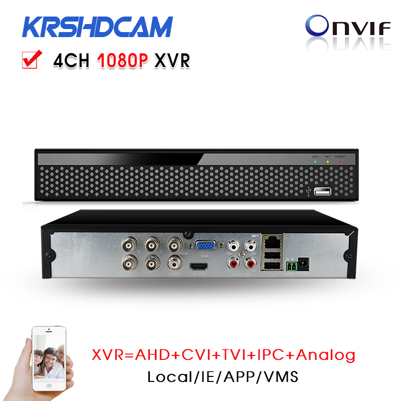4Channel 1080P Hybrid XVR for AHD-H AHD-M/CVI/TVI DVR 960H D1 P2P IP recorder ONVIF Network NVR H.264 for 2MP IP Camera 8channel dvr 1080p hybrid xvr 16ch for ahd h cvi tvi camera p2p ip recorder onvif network cvr mini nvr h 264 for 2mp ip camera