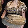 Новый Дизайн Теплая Зима Короткие Рукава Золотое Перо Свадебные Куртки 2017 Женщины Пожимания Плечами Свадьба Пальто Болеро Свадебные Аксессуары B173