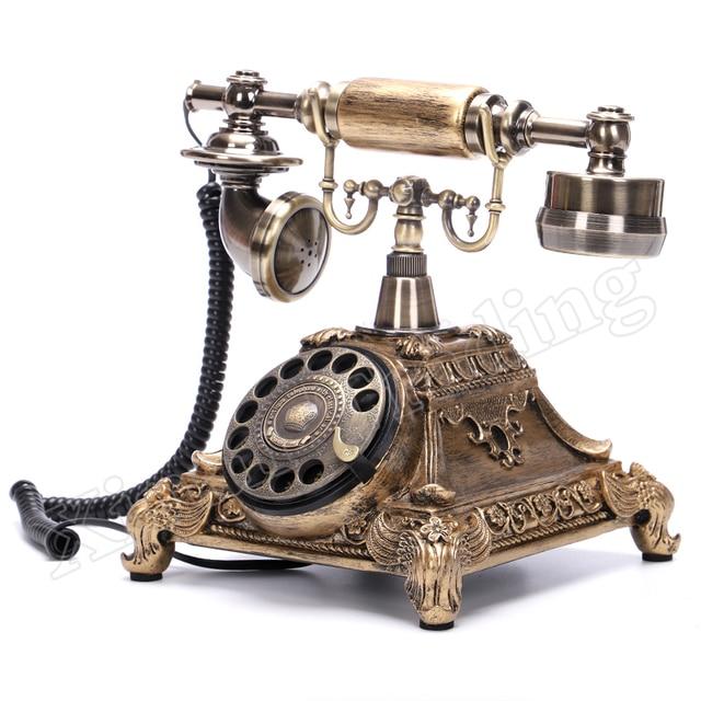 Moda europeia do vintage placa giratória telefone de discagem rotativa telefones antigos telefone fixo para home office hotel