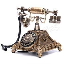Telefone da moda europeia do vintage placa giratória rotativo dial telefone telefones antigos telefone fixo para escritório casa hotel