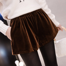 Women High Waist Shorts autumn winter casul velvet Shorts Loose Elastic Waist Streetwear Wide Leg Shorts