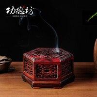 Kırmızı pelesenk altıgen ajur tütsü bobin tütsü kutusu masif ahşap tütsü kutusu fırın 4 saat yenİ ürün promosyonlar