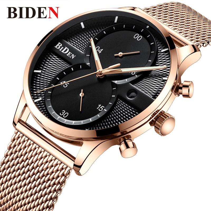 BIDEN Top Brand Luxury Quartz Watch Men Casual Japan Quartz-watch Stainless Steel Mesh Strap Ultra Thin Clock Male Gift