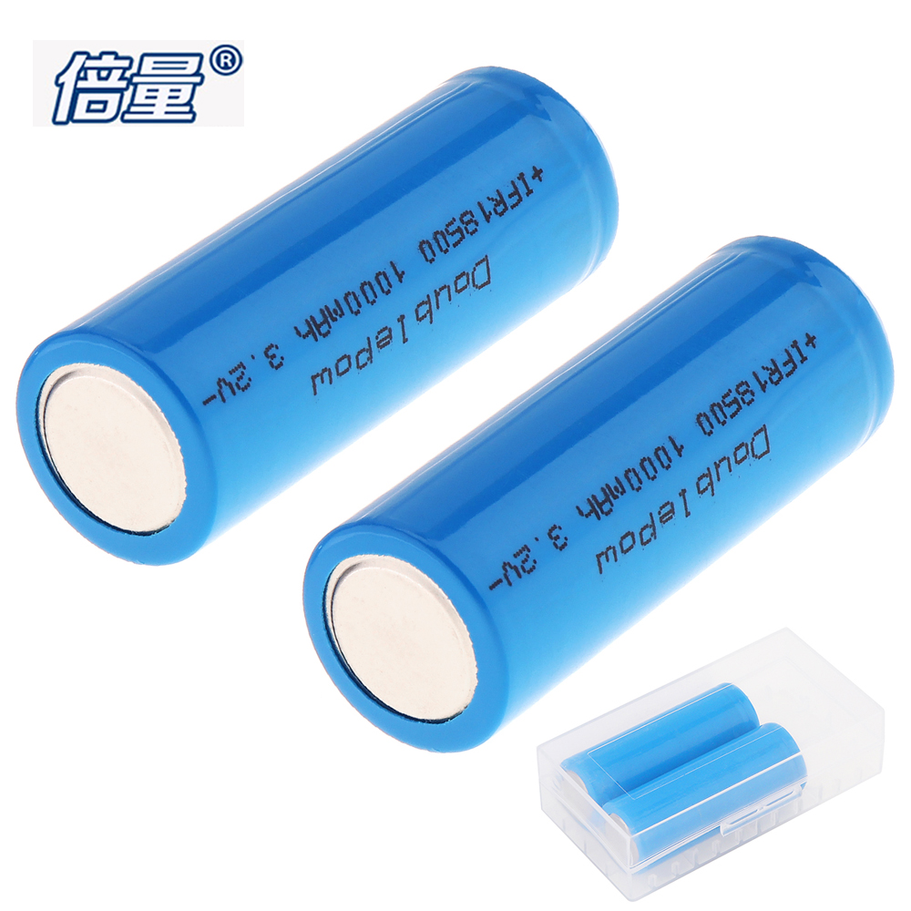 2pcs Doublepow 1000mAh 3.2V 18500 Li-ion Lithium Rechargeable Battery with Safety Relief Valve + Battery Storage Box Case Holder