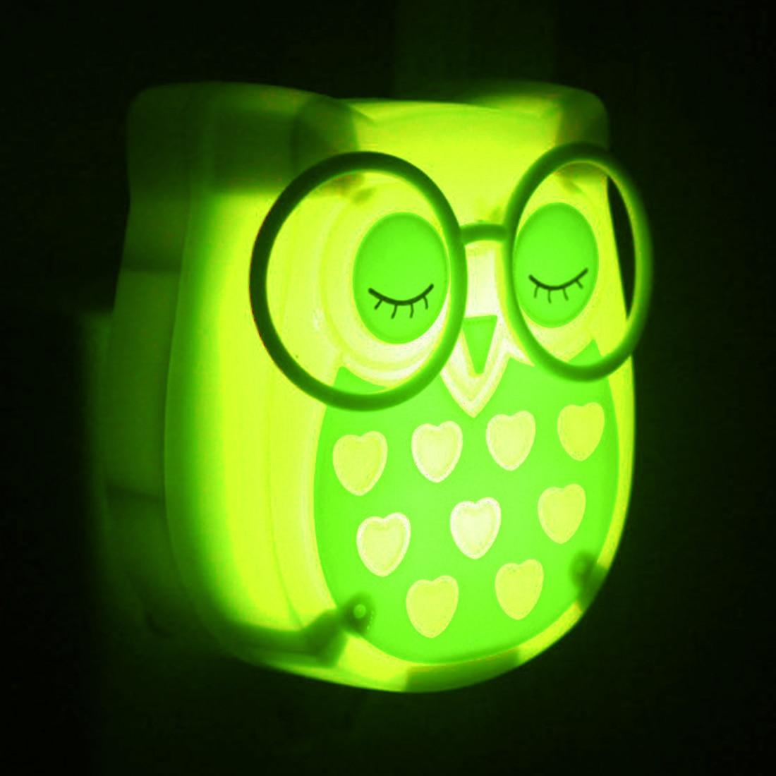 Cute Cartoon Owl Led Mini Night Light Auto Control LED Sensor Lights Child Kids Baby Soft Lamp Bedroom Lighting Wall Decoration