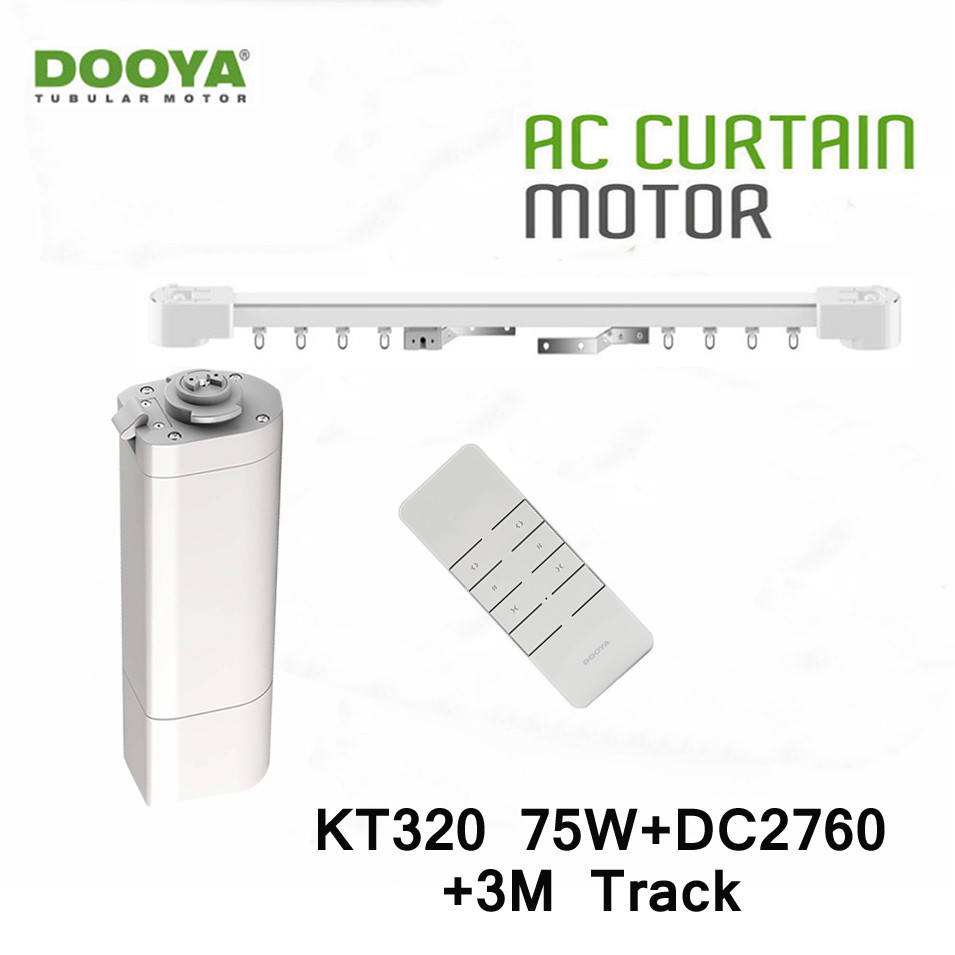 Dooya Home Automation Electric Curtain Motor KT320E 75W+DC2760 2 Channel Remote Control+3M Track,Smart Curtain Track System dooya dc1653 wall switch 15 channel emitter remote controller for electric curtain motor curtain accessories for kt320e dt52e