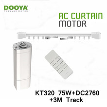 Dooya Home Automation Electric Curtain Motor KT320E 75W+DC2760 2 Channel Remote Control+3M Track,Smart Curtain Track System