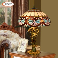 European style Tiffany color glass love Baroque table lamp living room bedroom bedside table lamp