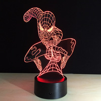 Creative Spider Man Illusion LED Night Light 7 Color Change 3D Table Lamps Remote Control Sleeping
