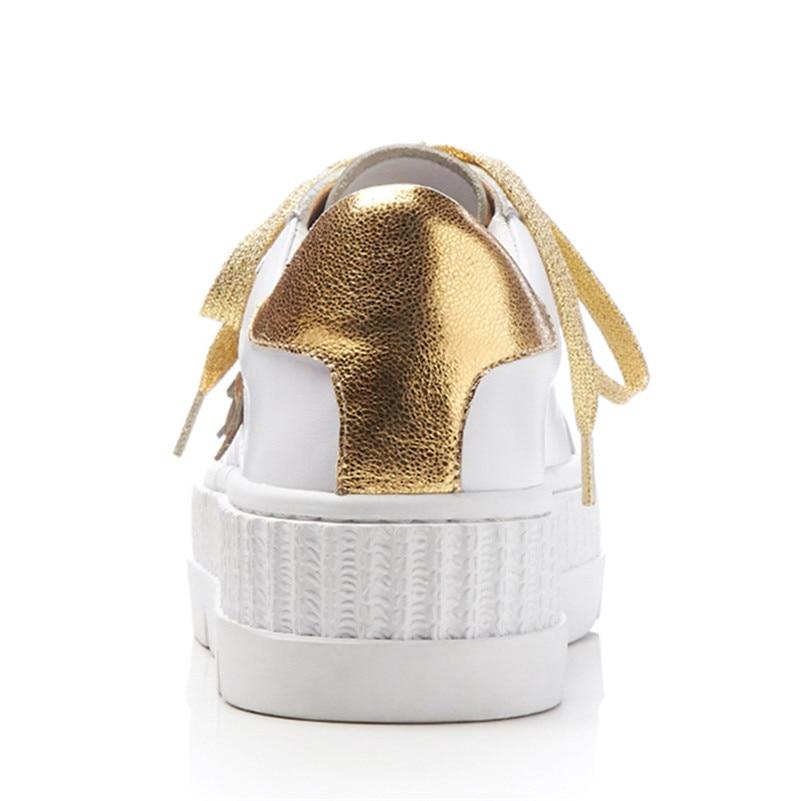 Métal Blanc En Bout Chaussures Cuir Fedonas1new Véritable Décoration Fleurs Femme Appartements Marque Base Femmes De Printemps Automne Rond Sneakers Casual Yqw6H