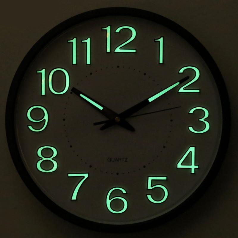 Reida Brand 12 Inch Metal Luminous Mute Wall Clock Sitting