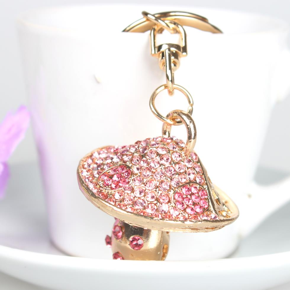 Mushroom Hot Pink Lovely Charm Pendent Crystal Purse Bag Keyring Key Chain Gift Travel Outfit Collection Women