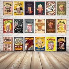[ Kelly66 ] Hot Buttred Popcorn Movie Food Metal Sign Tin Poster Home Decor Bar Wall Art Painting 20*30 CM Size Dy37