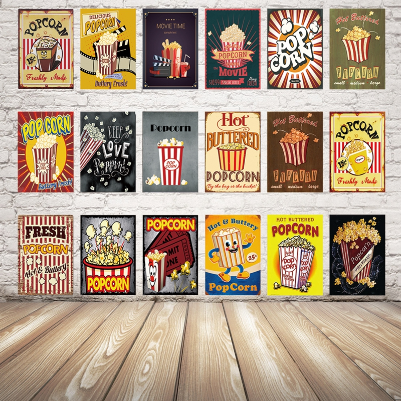 Kelly66 Hot Buttred Popcorn Movie Food Metal Sign Tin Poster Home Decor Bar Wall Art Painting 20 30 CM Size Dy37 in Plaques Signs from Home Garden