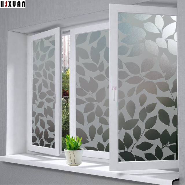 Pvc decorative window privacy films 40x100cm leaf decal waterproof self adhesive glue opaque window stickers