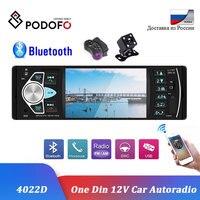 Podofo 1 Din Car Radio Bluetooth Autoradio 4.1'' 12V FM USB AUX Audio Stereo With Steering Wheel Remote Control Rear View Camera