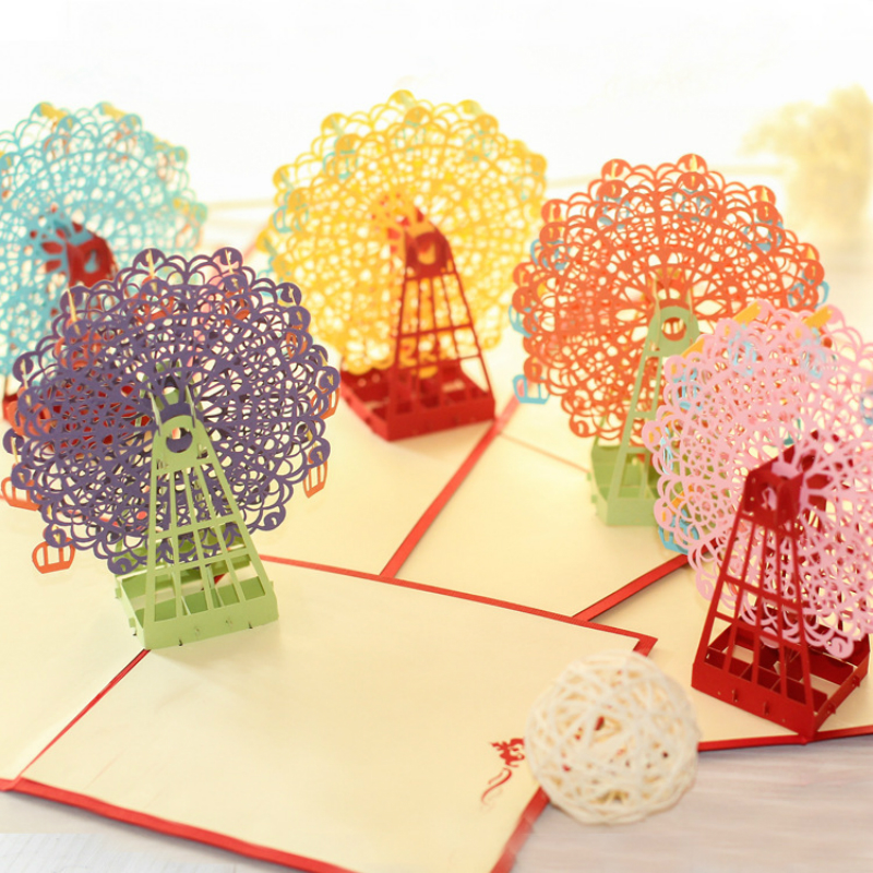 Exquisite 3D Handmaade Greeting Card Stereo Ferris Wheel Pop Out New Year Blessing Marriage Ingenious Gift Invitation Card cubic life 3d greeting card empire state building stereo greeting card creative american travel card