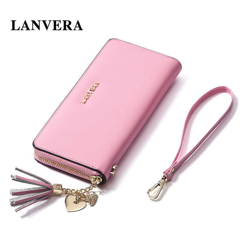 designer fashion 797ad 5e72d US $42.0 |LANVERA Leather Women's Purse Cell Phone Wallet Brand Woman  Wallet Leather Zipper Women Purse For Coins Ladies Card Holder-in Wallets  from ...