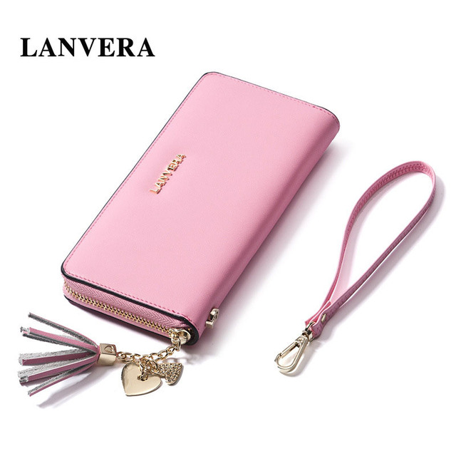 LANVERA Leather Women's Purse Cell Phone Wallet Brand   Woman Wallet Leather Zipper  Women Purse For Coins   Ladies Card Holder