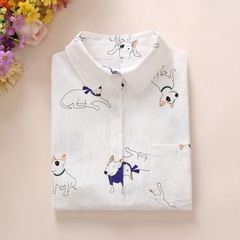 Dioufond verano nueva camisa de mujer estampado blanco Tops camisa de manga larga moda mujer blusas informales de algodón para la escuela ropa
