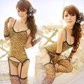 Новое поступление женщин сексуальное женское белье леопарда подвязки топы стринги чулок перчатки комплект наряды
