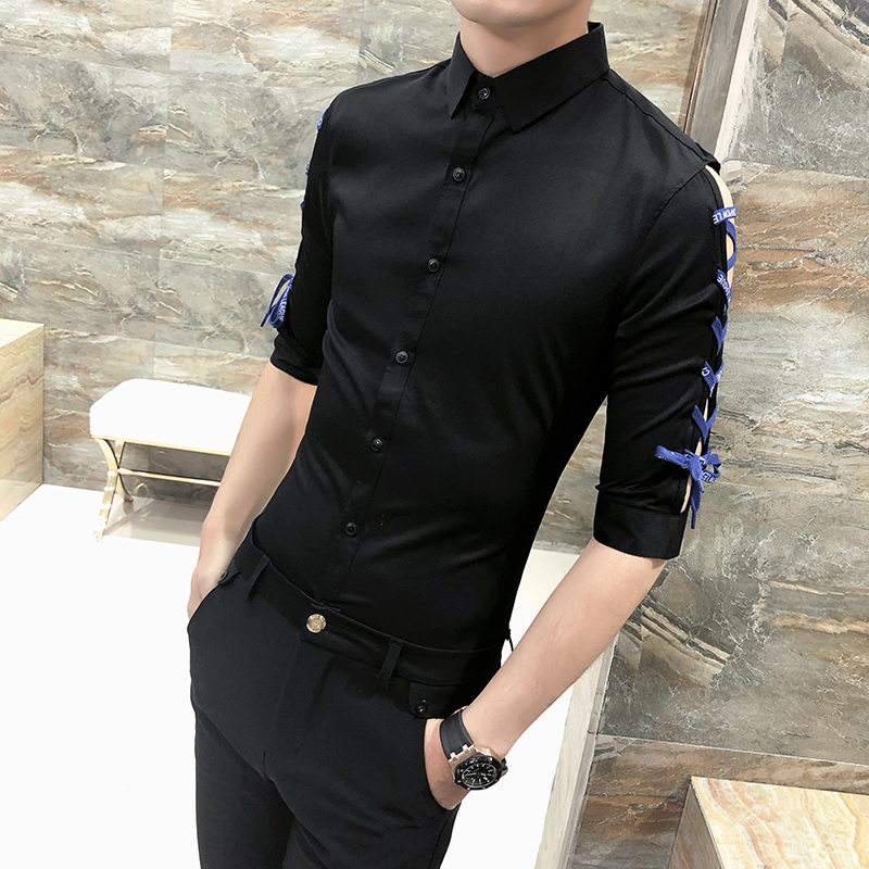 2018 Summer Shirt Men Fashion Slim Fit Ribbon Design Half Sleeve Tuxedo Mens Social Shir ...