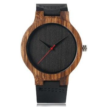 Modern Wristwatch Analog Nature Wood Fashion Soft Leather Creative Birthday Gifts