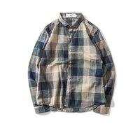 Blue Mens Shirt Check Vintage Plaid Loose 5xl 4xl Mens Shirts Hip Hop Streetwear Stylish Shirt Men Korean Japanese Casual Dress