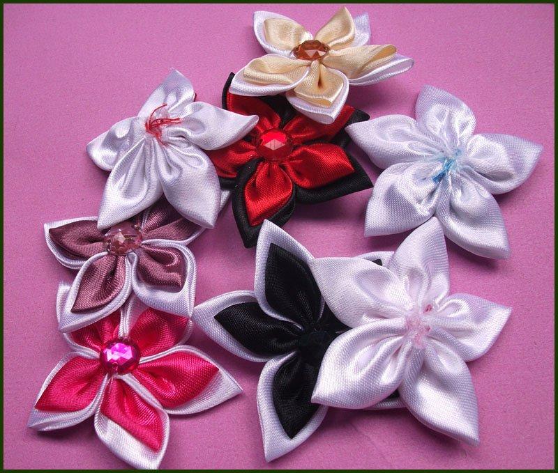 4 см 20 шт./лот 40 шт. атласной лентой цветок с Кристалл с аппликацией из бисера для одежды и аксессуаров для девочек украшение для волос