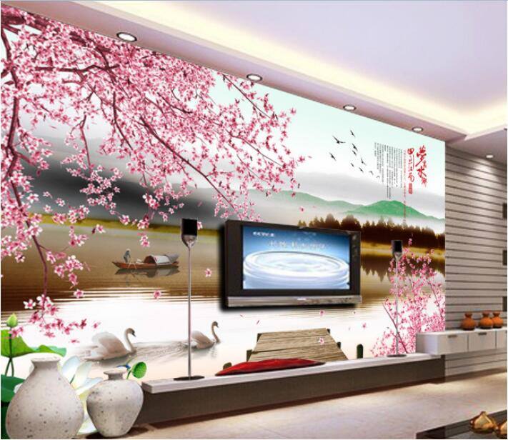 3d wallpaper custom photo mural non woven wall sticker 3 d peach blossom ships swan lake painting 3d wall room murals wallpaper