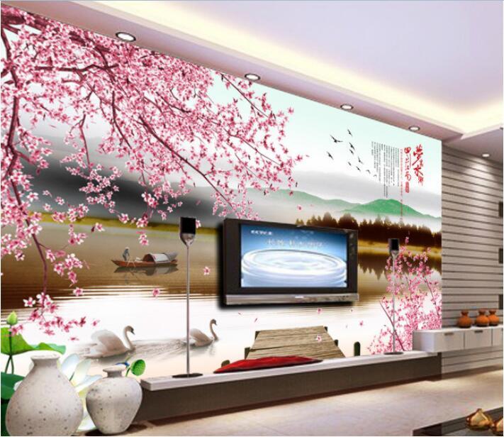 3d wallpaper custom photo mural non woven wall sticker 3 d peach blossom ships swan lake painting 3d wall room murals wallpaper