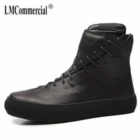 High Martin round men leather boots British winter Korean Retro Black or men shoes warm Martin boots breathable fashion boots